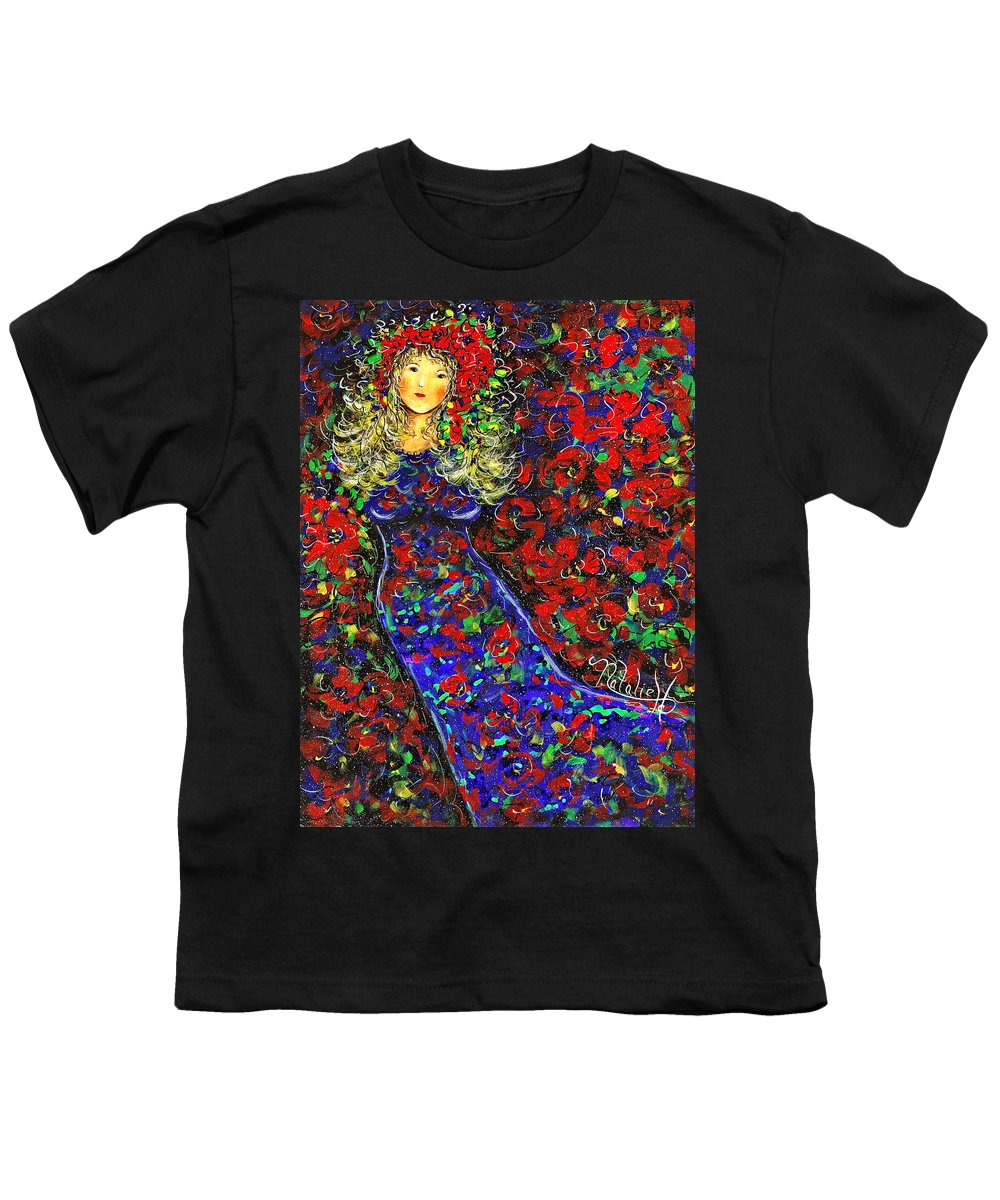Woman Youth T-Shirt featuring the painting Golden Girl by Natalie Holland