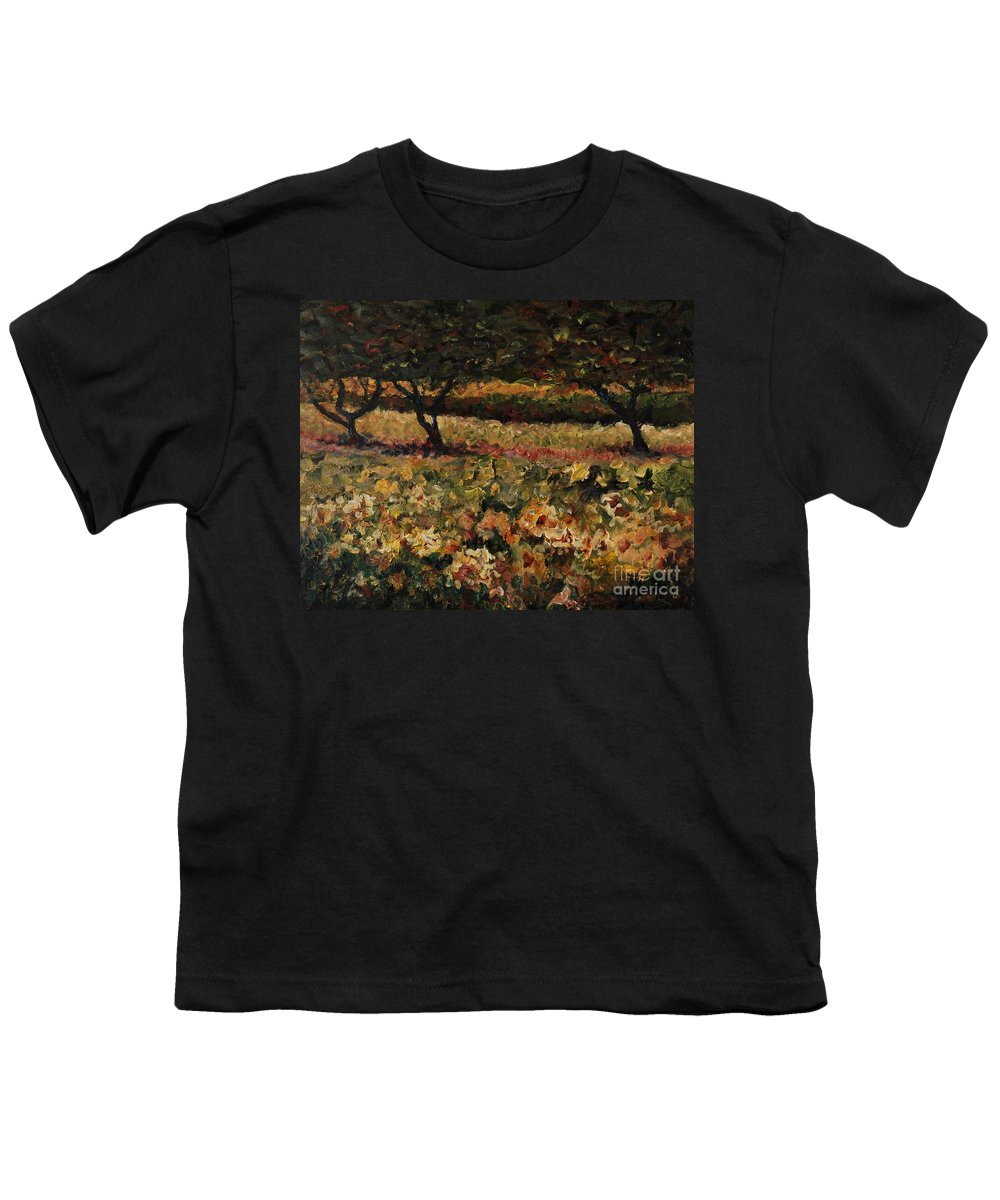 Landscape Youth T-Shirt featuring the painting Golden Sunflowers by Nadine Rippelmeyer