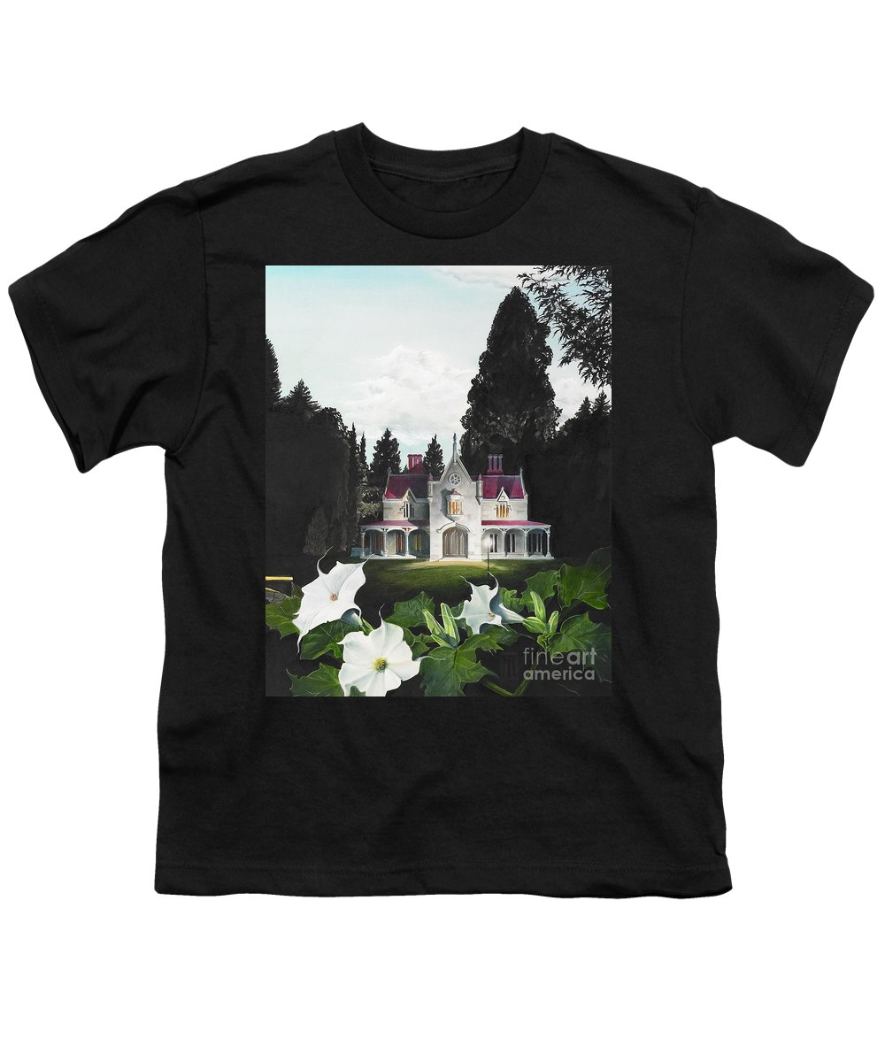 Fantasy Youth T-Shirt featuring the painting Gothic Country House Detail From Night Bridge by Melissa A Benson