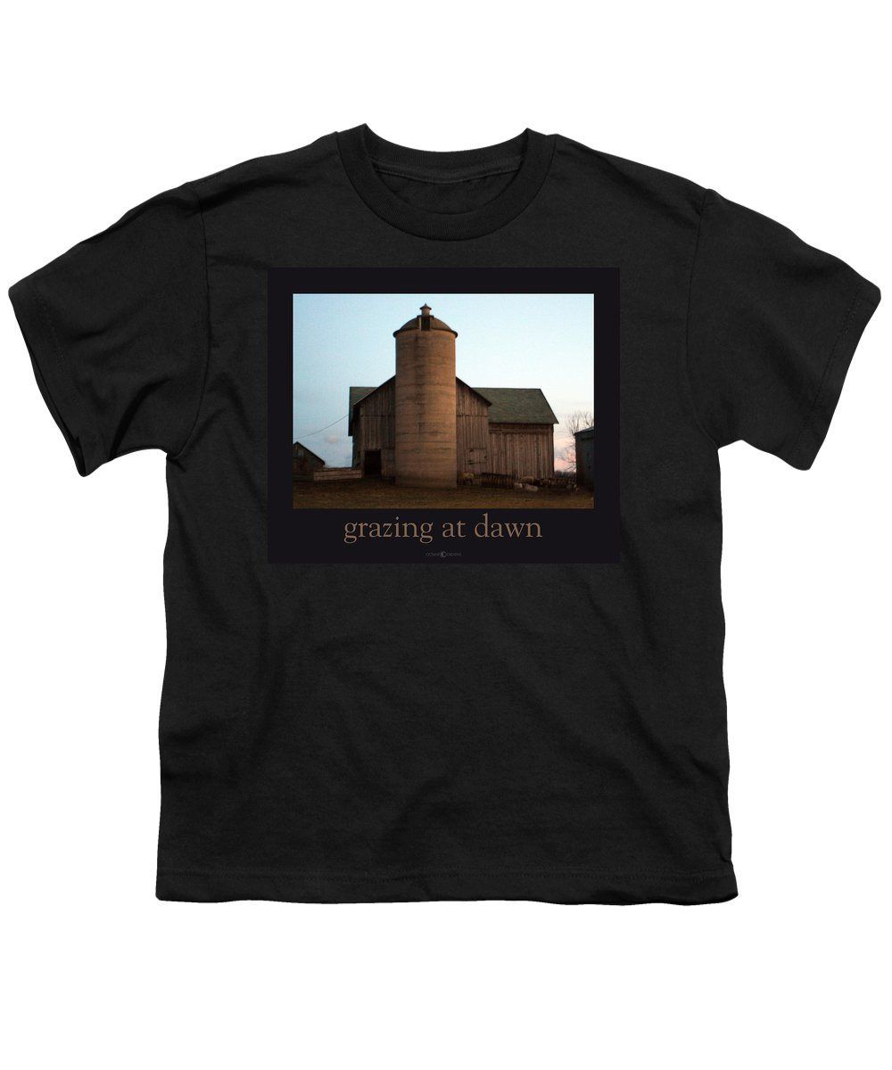 Barn Youth T-Shirt featuring the photograph Grazing At Dawn by Tim Nyberg