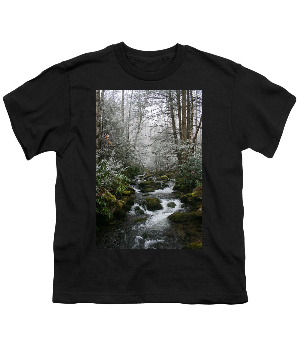 Green Snow Tree Trees Winter Stream River Creek Water Stone Rock Flow Boulder Forest Woods Cold Youth T-Shirt featuring the photograph Green And White by Andrei Shliakhau