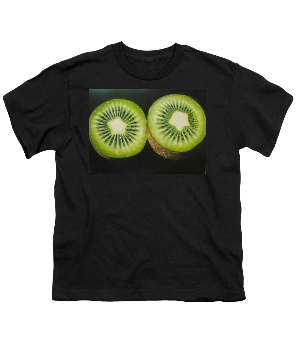Kiwi Youth T-Shirt featuring the painting Green Kiwi Oil Painting by Natalja Picugina