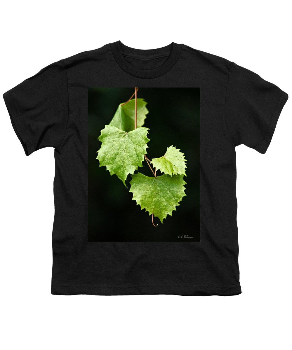 Flora Youth T-Shirt featuring the photograph Green Leaves by Christopher Holmes