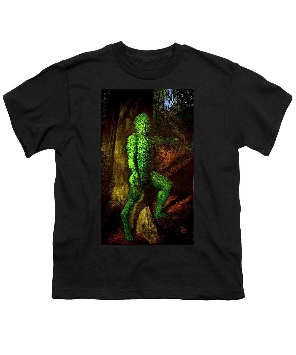 Myth Youth T-Shirt featuring the mixed media Greenman by Will Brown