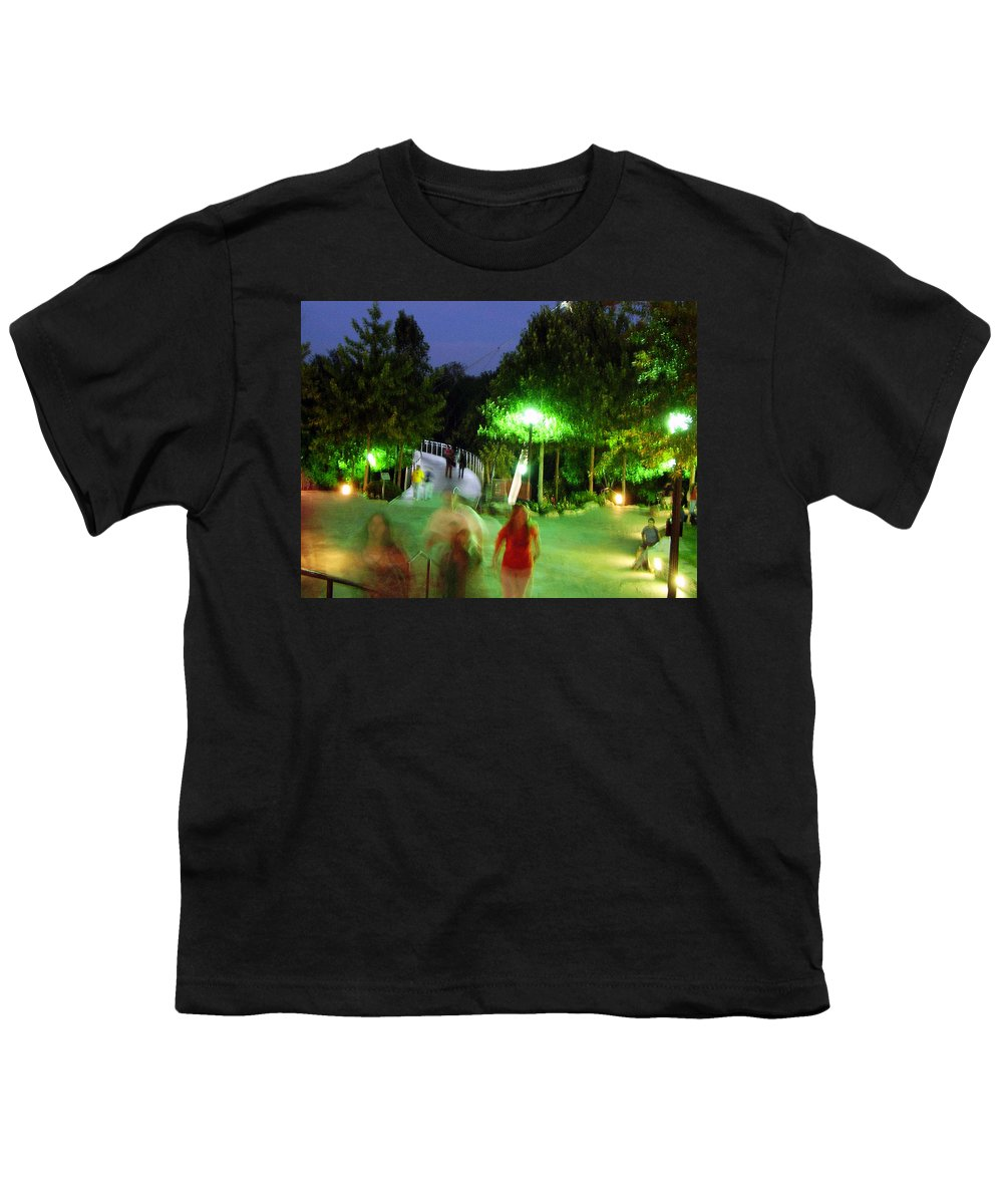 Falls Park Youth T-Shirt featuring the photograph Greenville At Night by Flavia Westerwelle