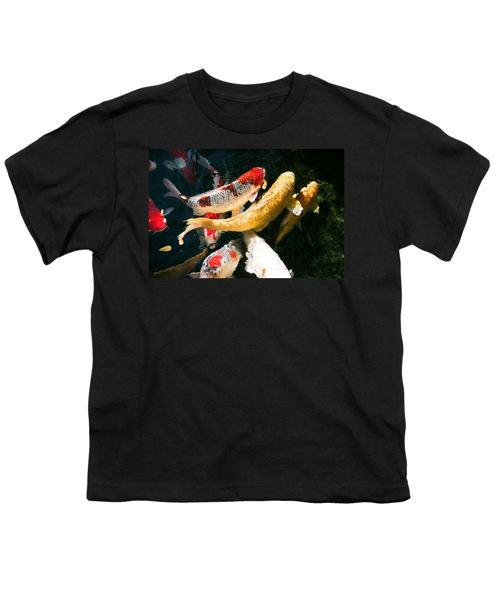 Fish Youth T-Shirt featuring the photograph Group Of Koi Fish by Dean Triolo