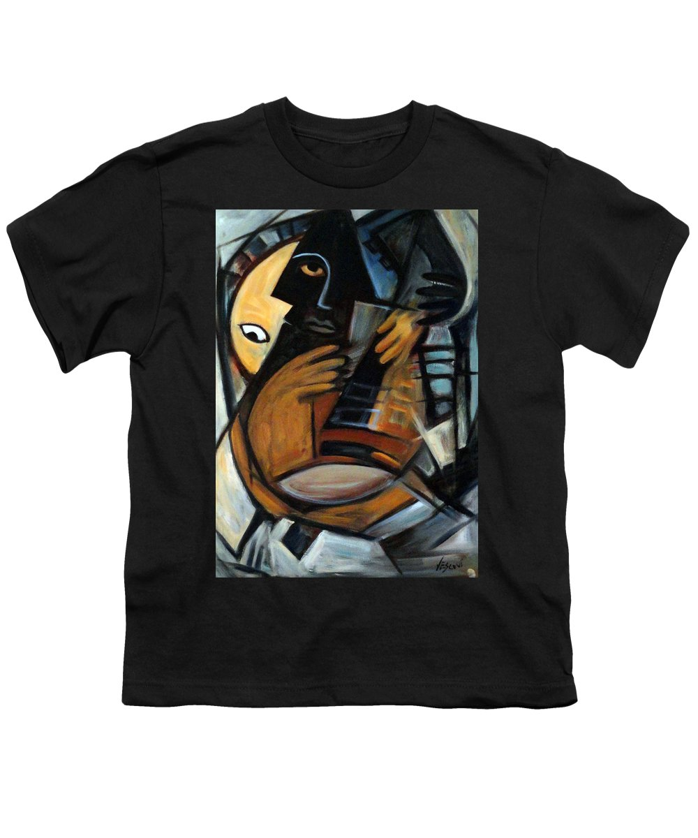 Cubism Youth T-Shirt featuring the painting Guitarist by Valerie Vescovi
