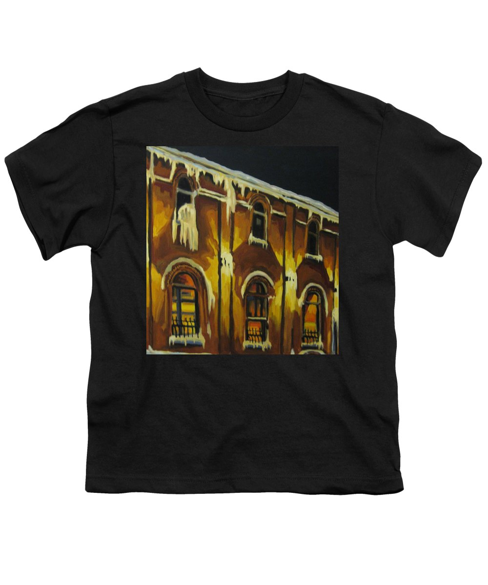 Urban Landscapes Youth T-Shirt featuring the painting Halifax Ale House In Ice by John Malone