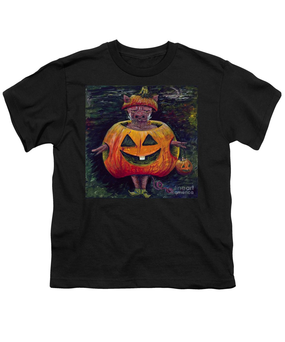 Halloween Youth T-Shirt featuring the painting Halloween Hog by Nadine Rippelmeyer