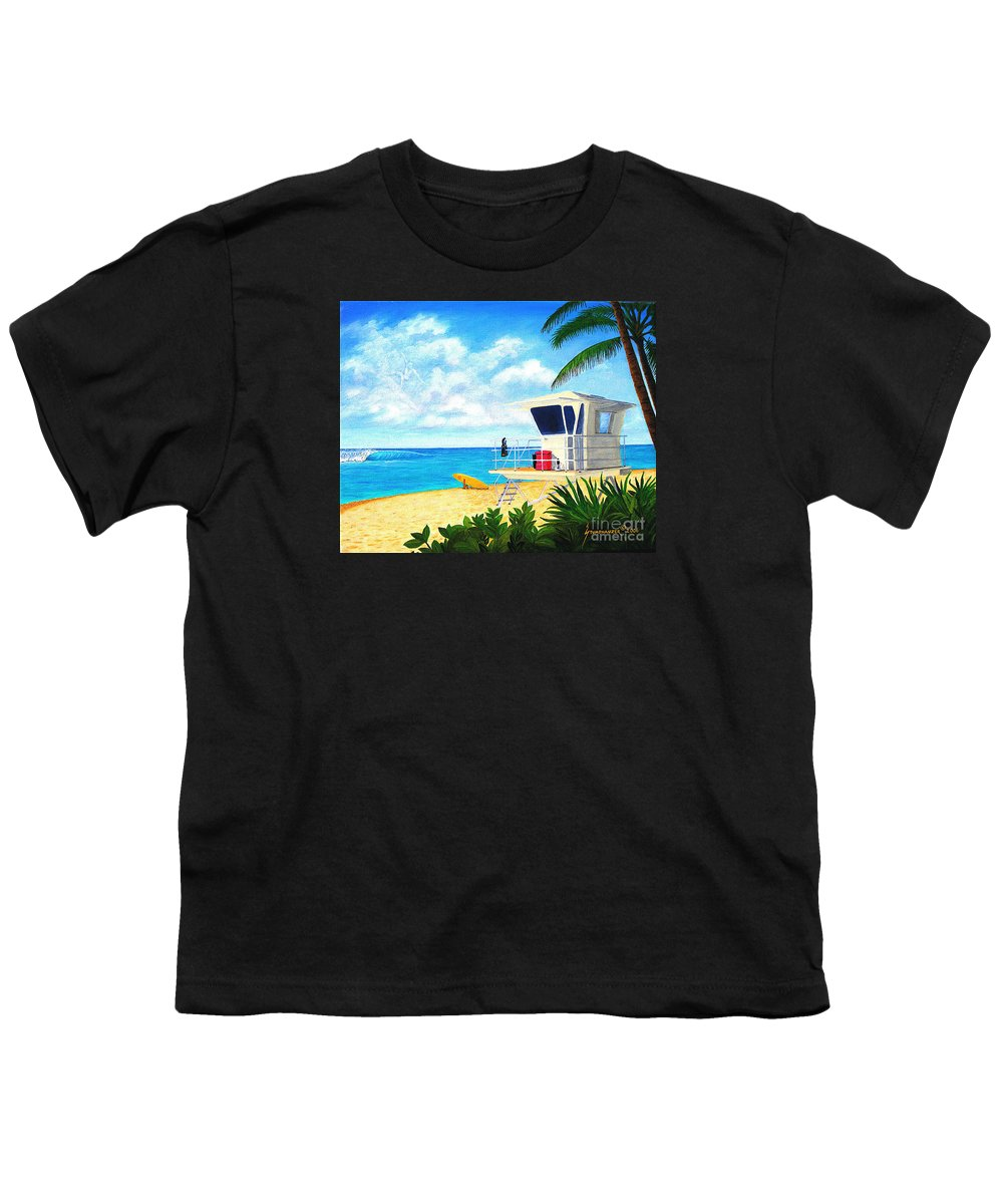 Hawaii Youth T-Shirt featuring the painting Hawaii North Shore Banzai Pipeline by Jerome Stumphauzer