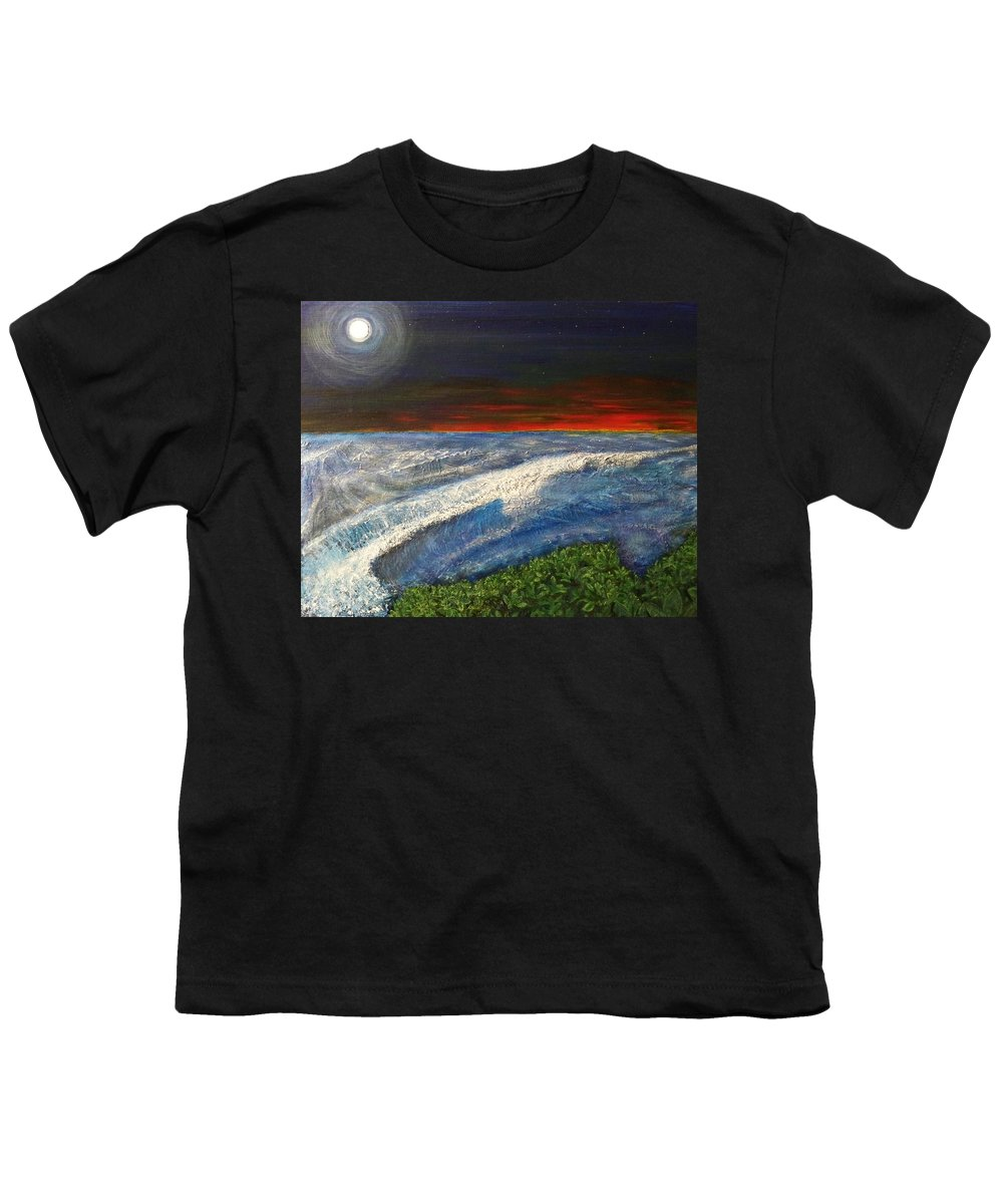 Beaches Youth T-Shirt featuring the painting Hawiian View by Michael Cuozzo
