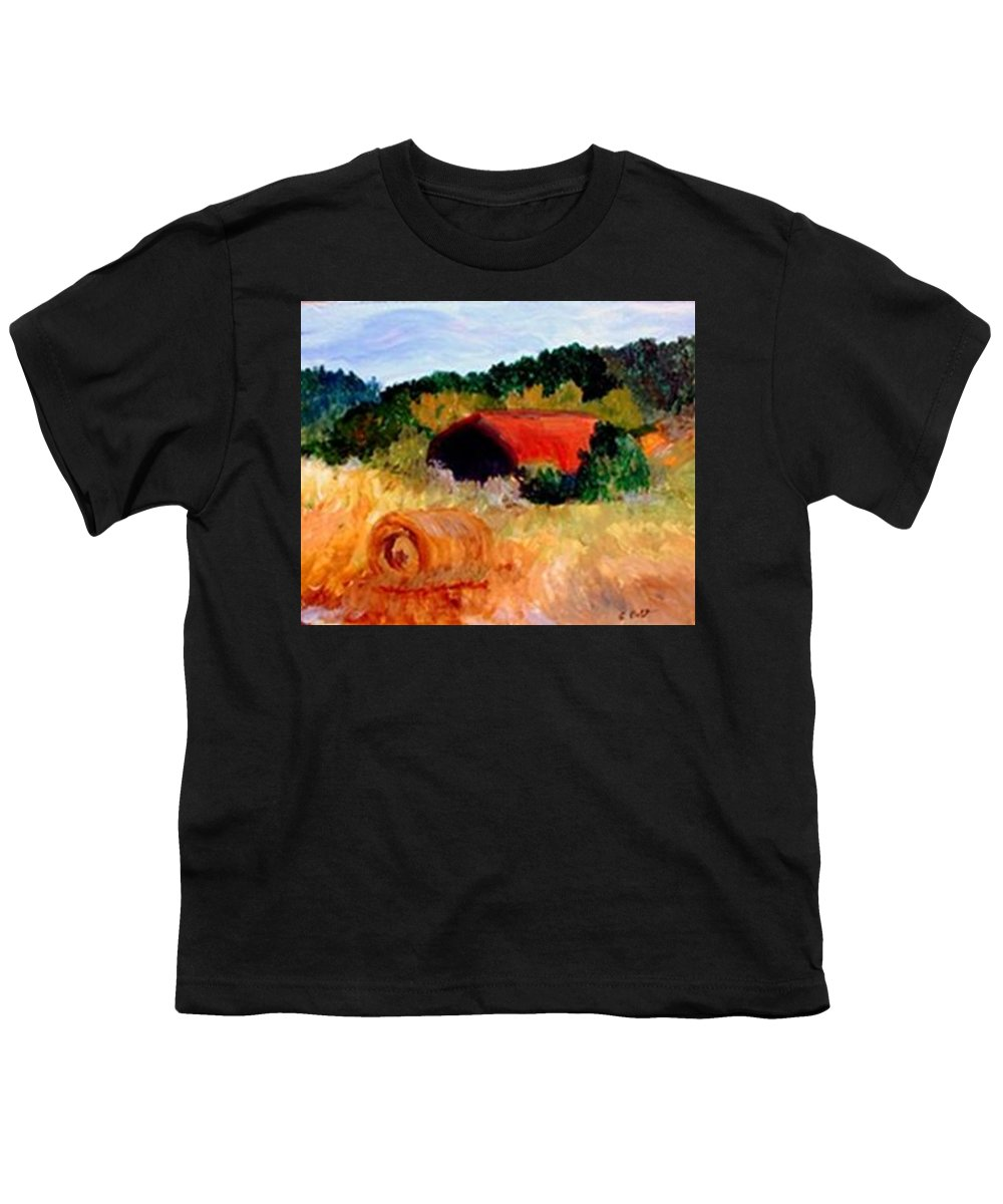 Hayrolls Youth T-Shirt featuring the painting Hayrolls by Gail Kirtz