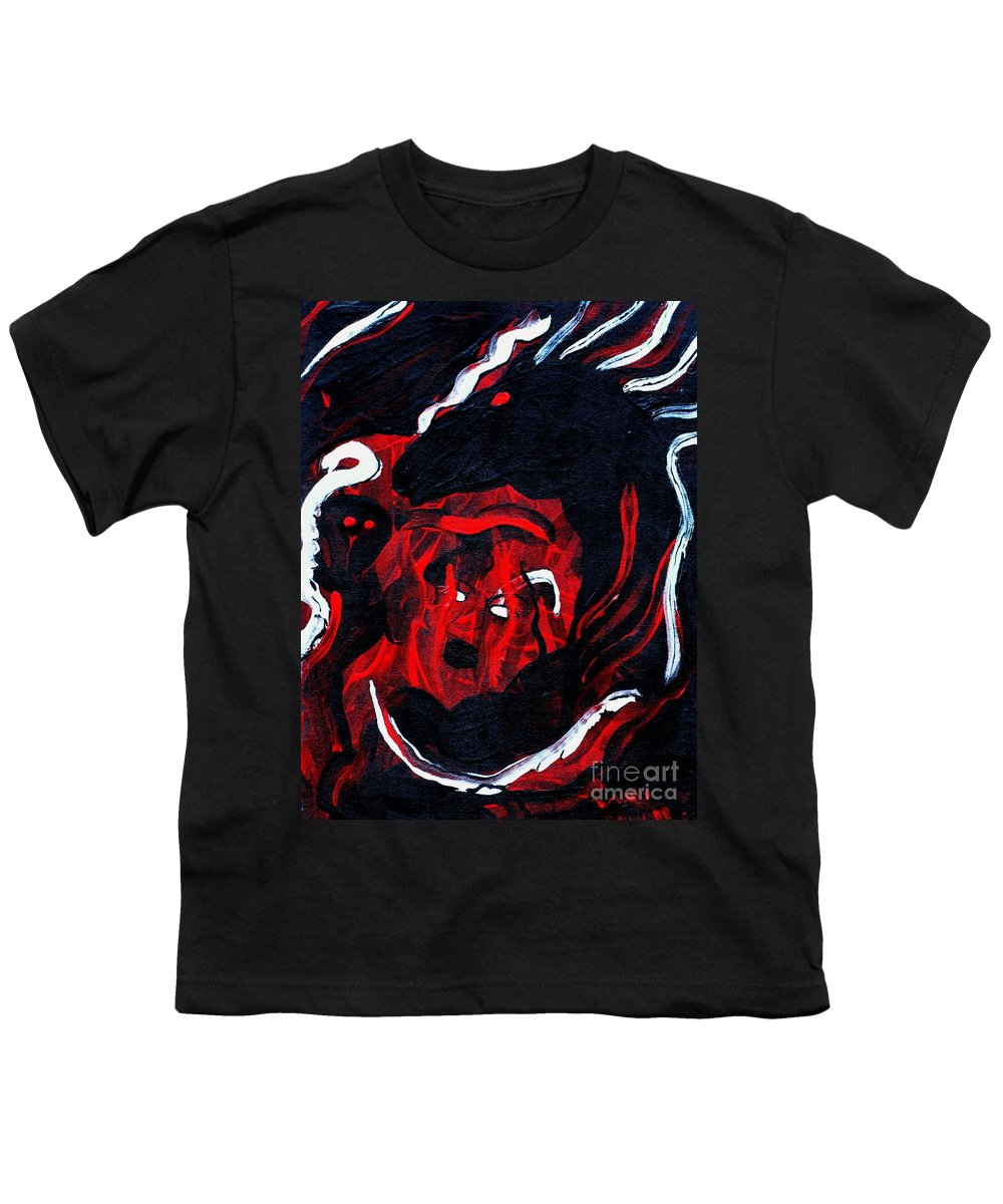 Horse Woman Red Black Silver Youth T-Shirt featuring the painting Hell Beast by Dawn Downour