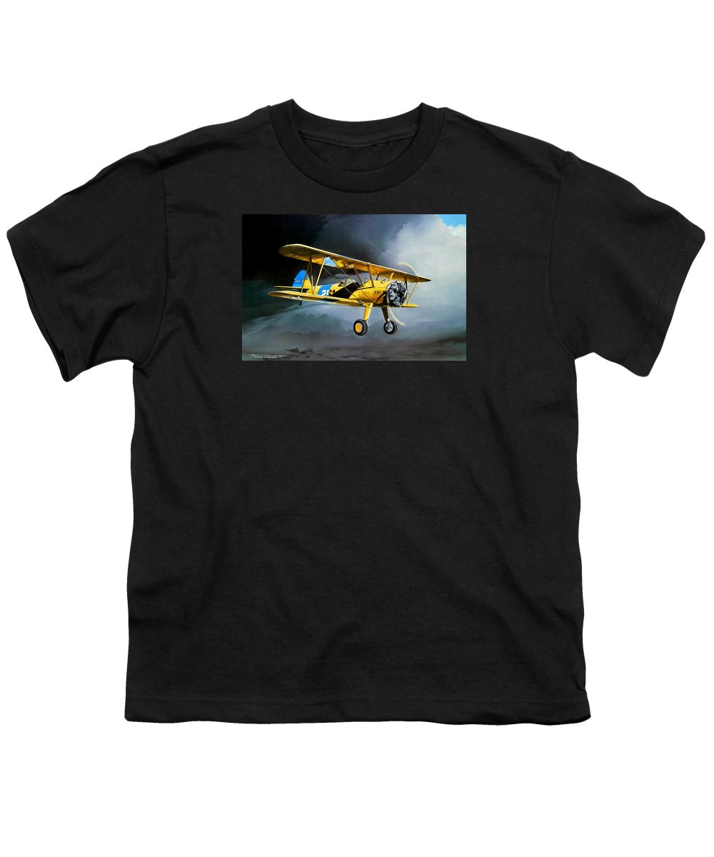 Military Youth T-Shirt featuring the painting Here Comes The Sun by Marc Stewart