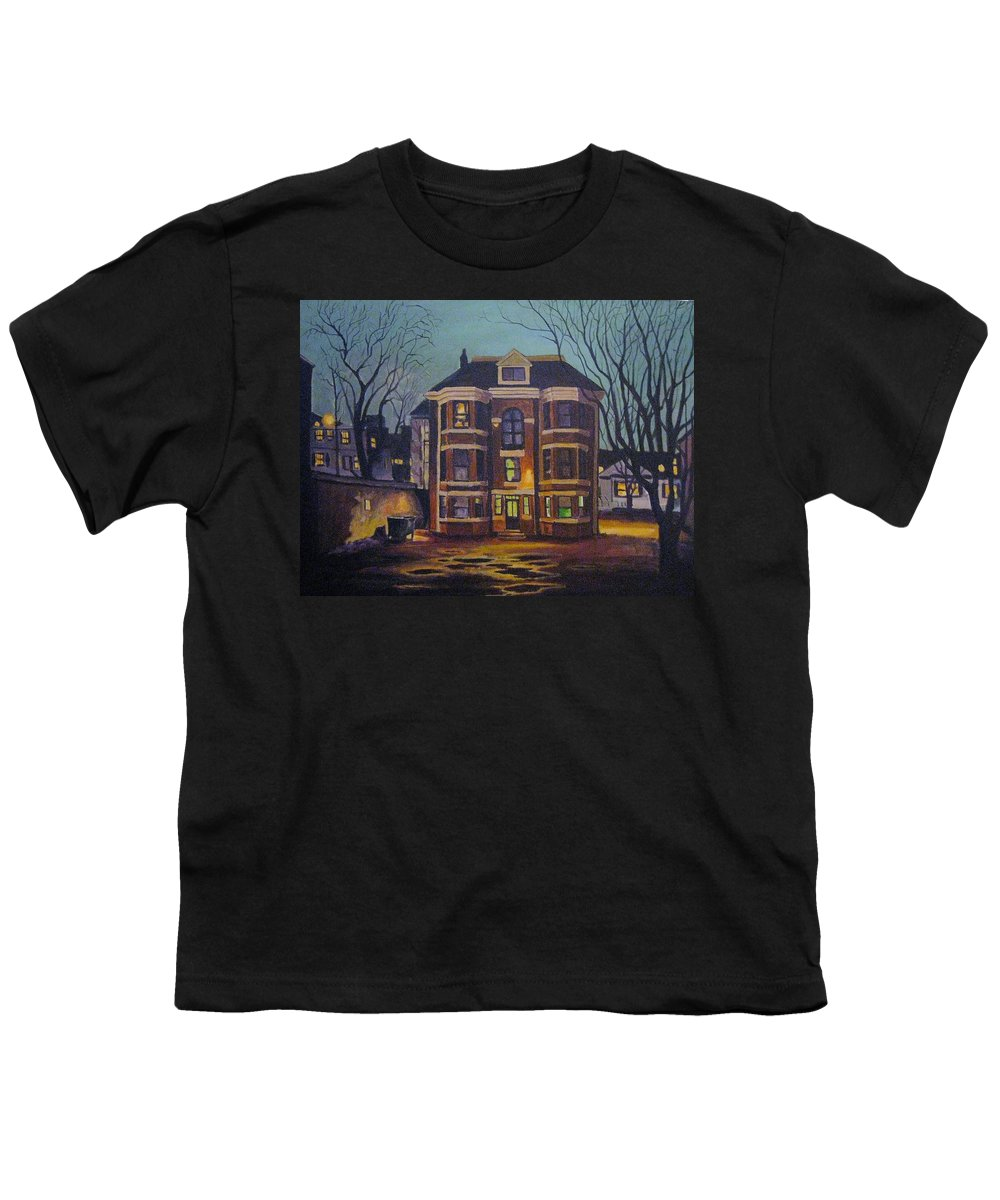 Moody Youth T-Shirt featuring the painting Historic Property South End Haifax by John Malone