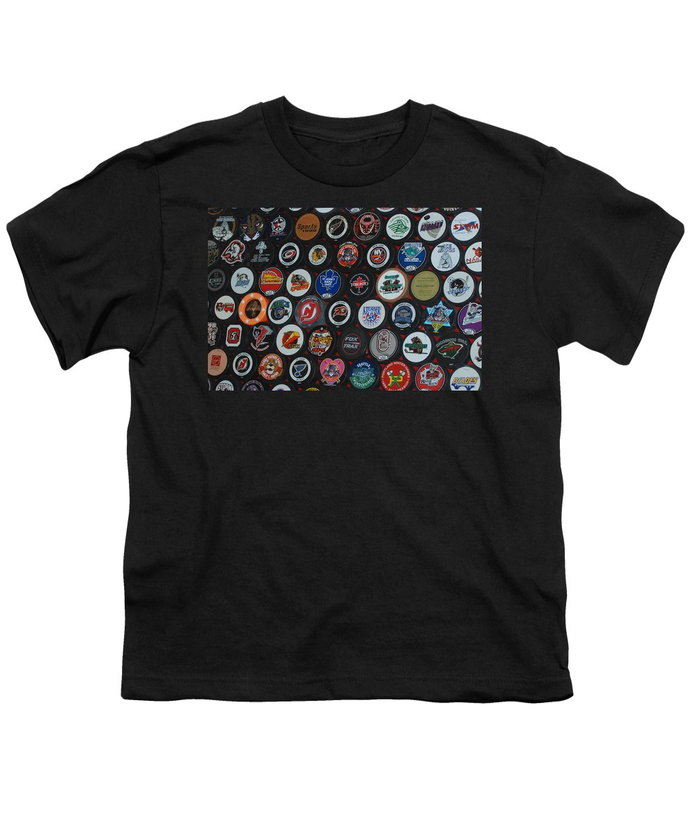 Pop Art Youth T-Shirt featuring the photograph Hockey Pucks by Rob Hans
