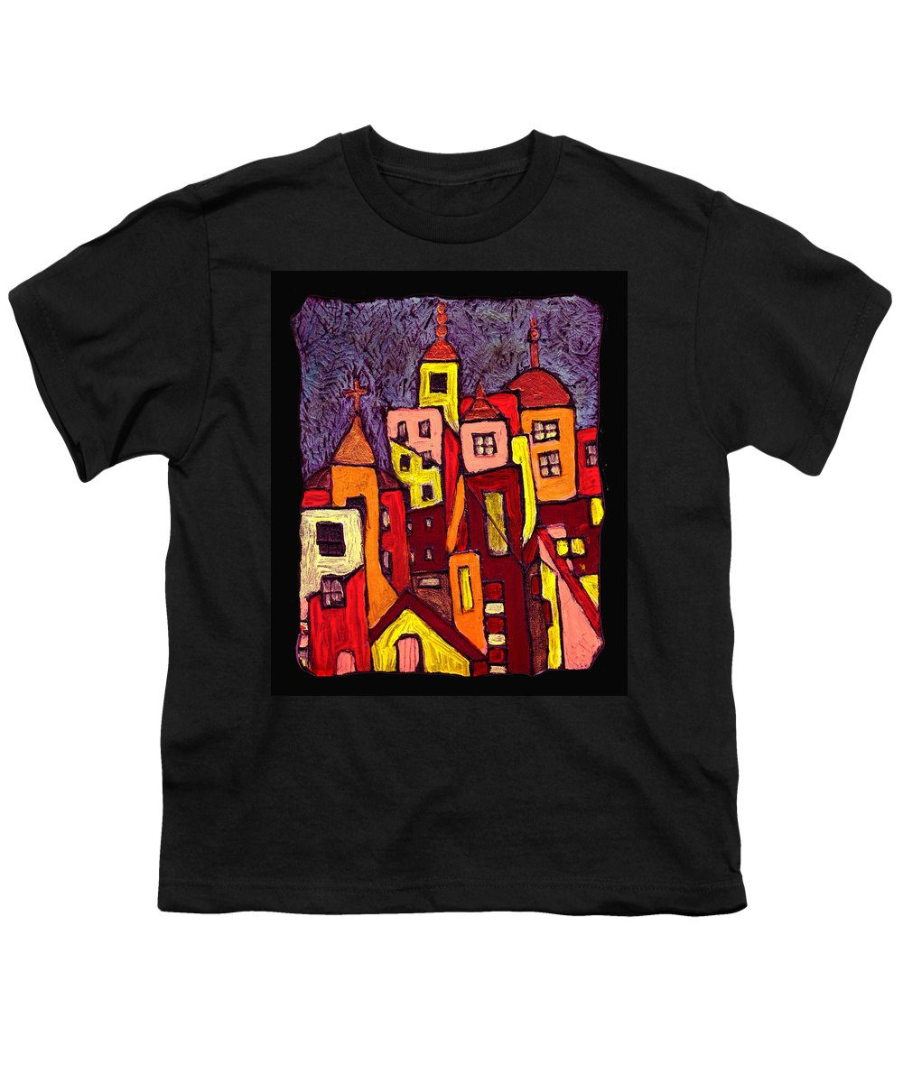 City Scapes Youth T-Shirt featuring the painting Hot Night In The City by Wayne Potrafka