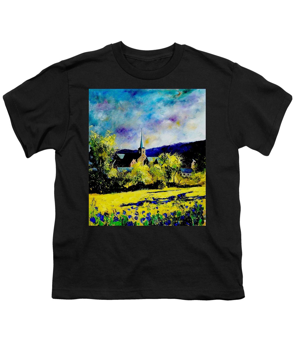 Poppies Youth T-Shirt featuring the painting Hour Village Belgium by Pol Ledent