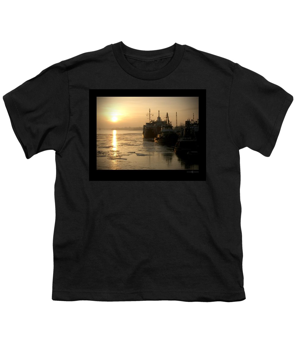 Boat Youth T-Shirt featuring the photograph Huddled Boats by Tim Nyberg