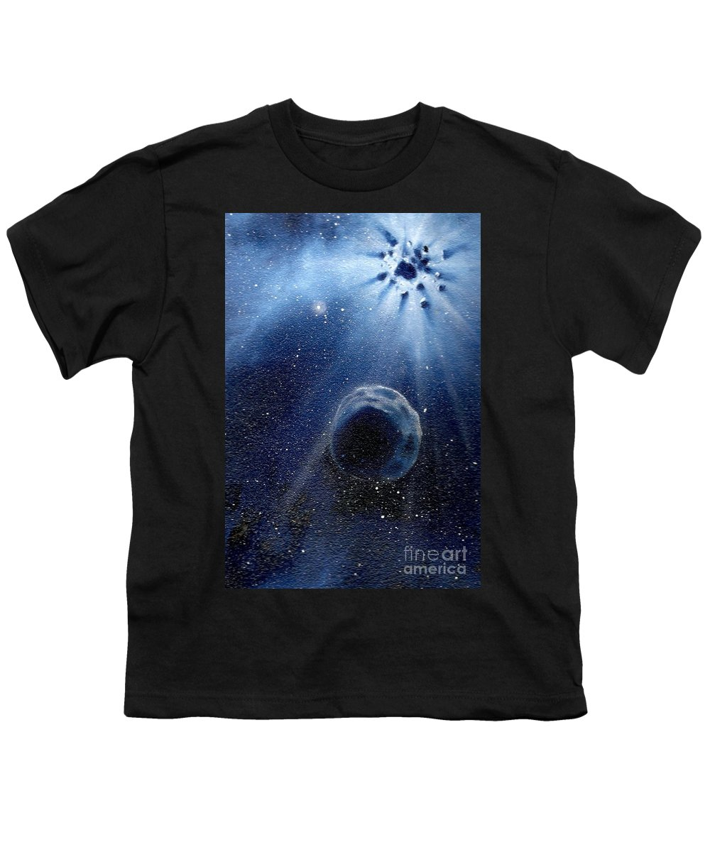 Outerspace Youth T-Shirt featuring the painting Impressive Impact by Murphy Elliott
