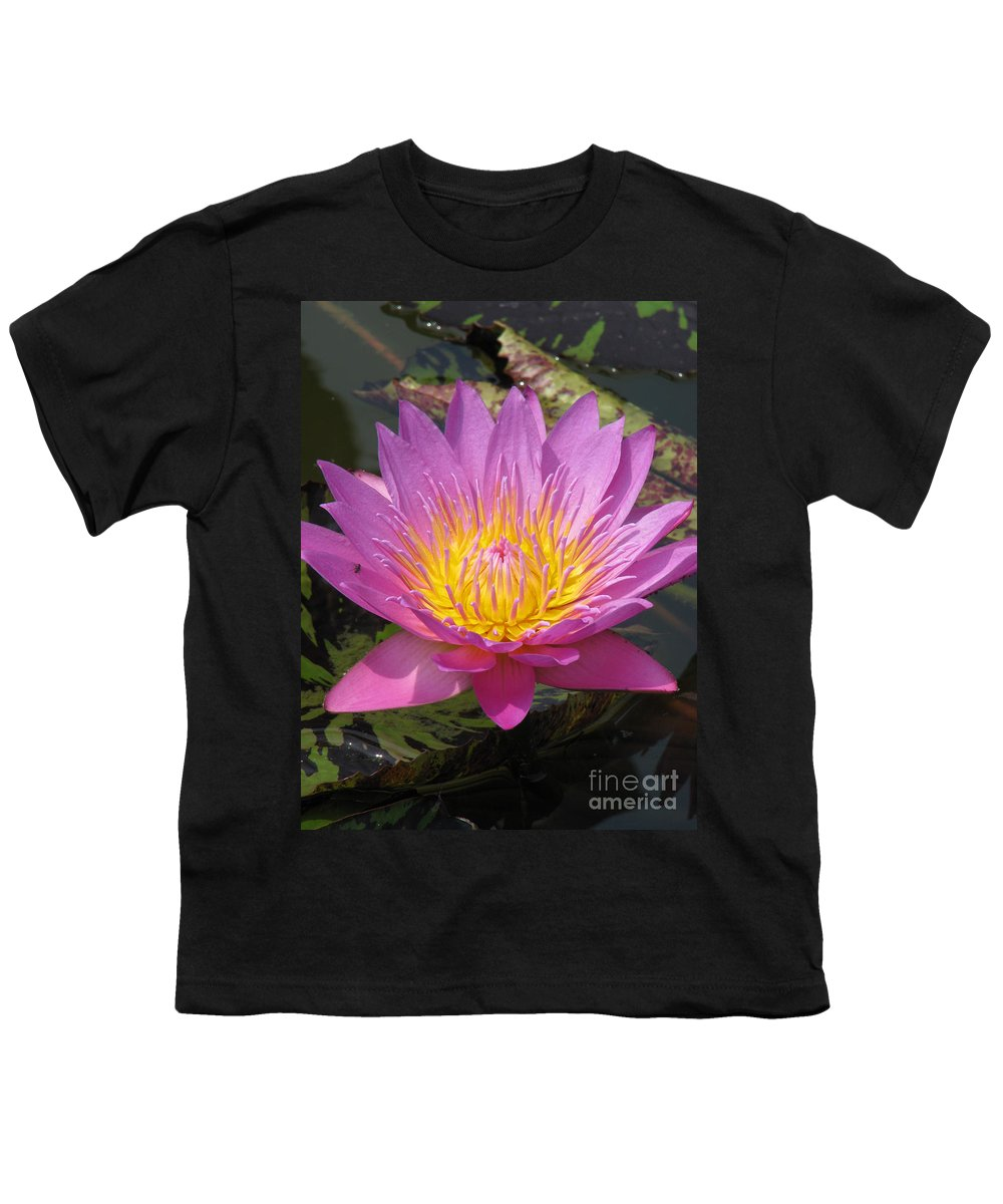 Lotus Youth T-Shirt featuring the photograph In Position by Amanda Barcon