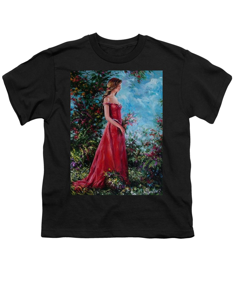 Figurative Youth T-Shirt featuring the painting In Summer Garden by Sergey Ignatenko