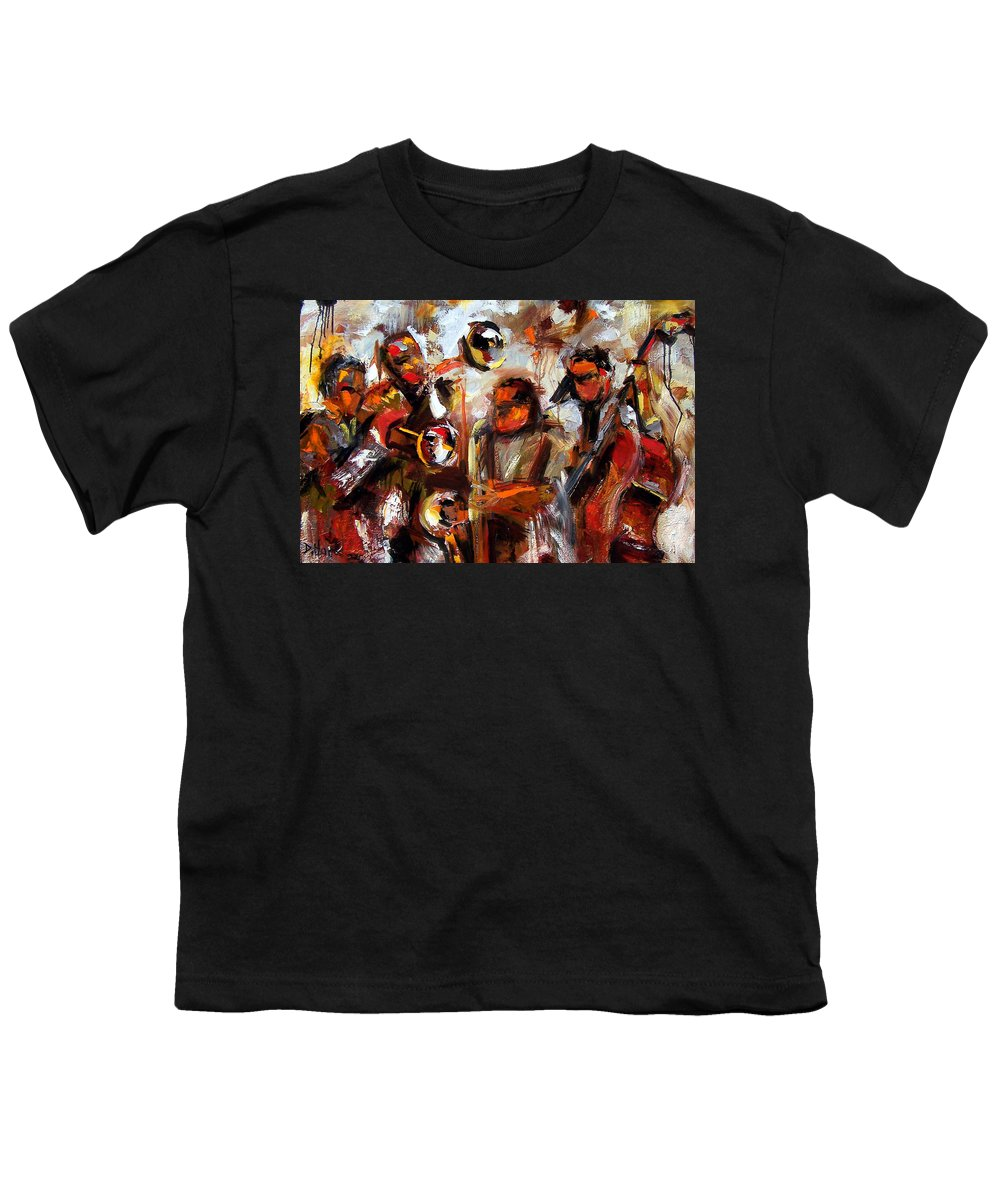 Jazz Art Youth T-Shirt featuring the painting In The Moment by Debra Hurd