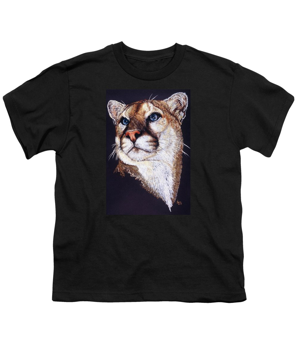 Cougar Youth T-Shirt featuring the drawing Intense by Barbara Keith