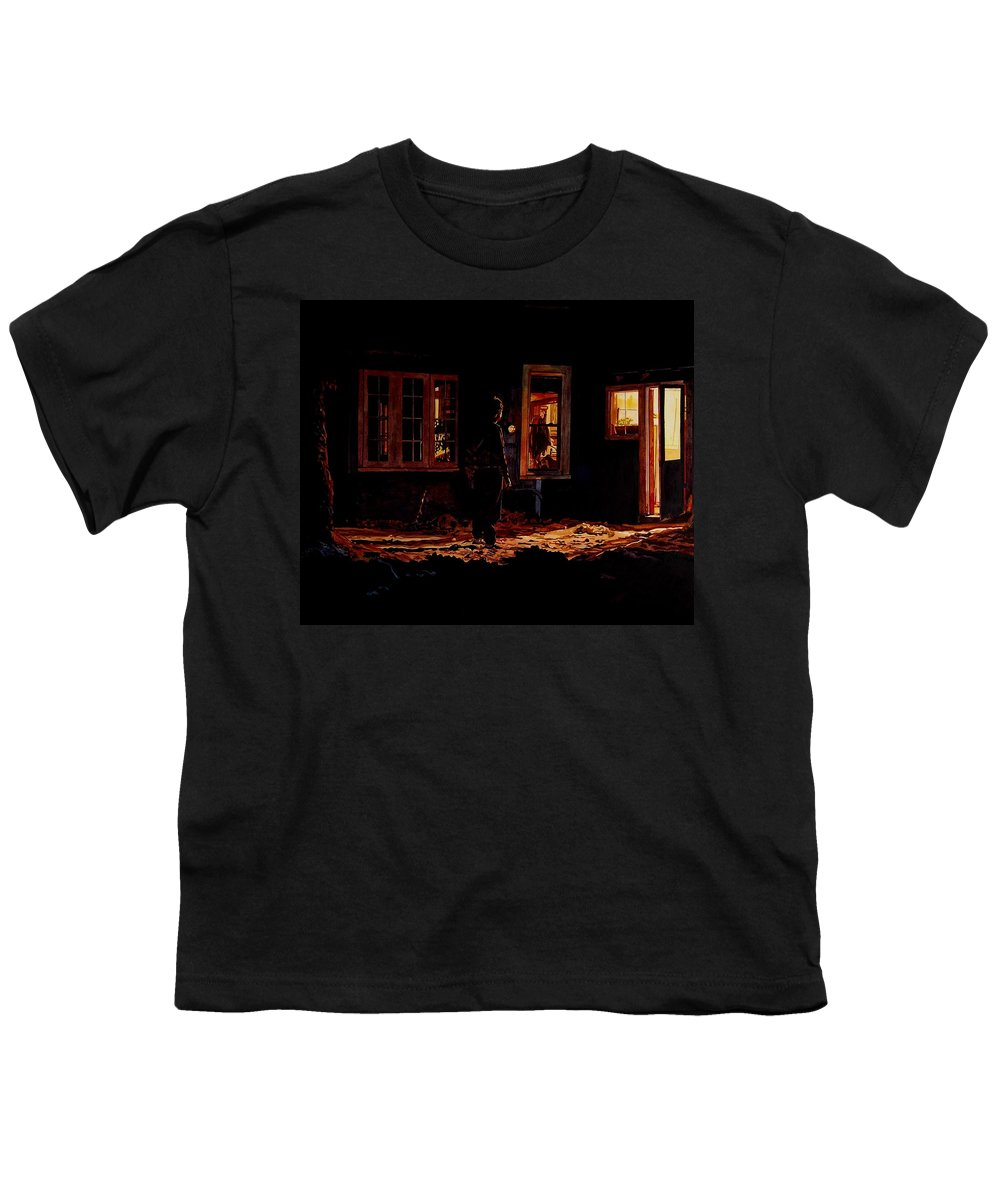 Night Youth T-Shirt featuring the painting Into The Night by Valerie Patterson