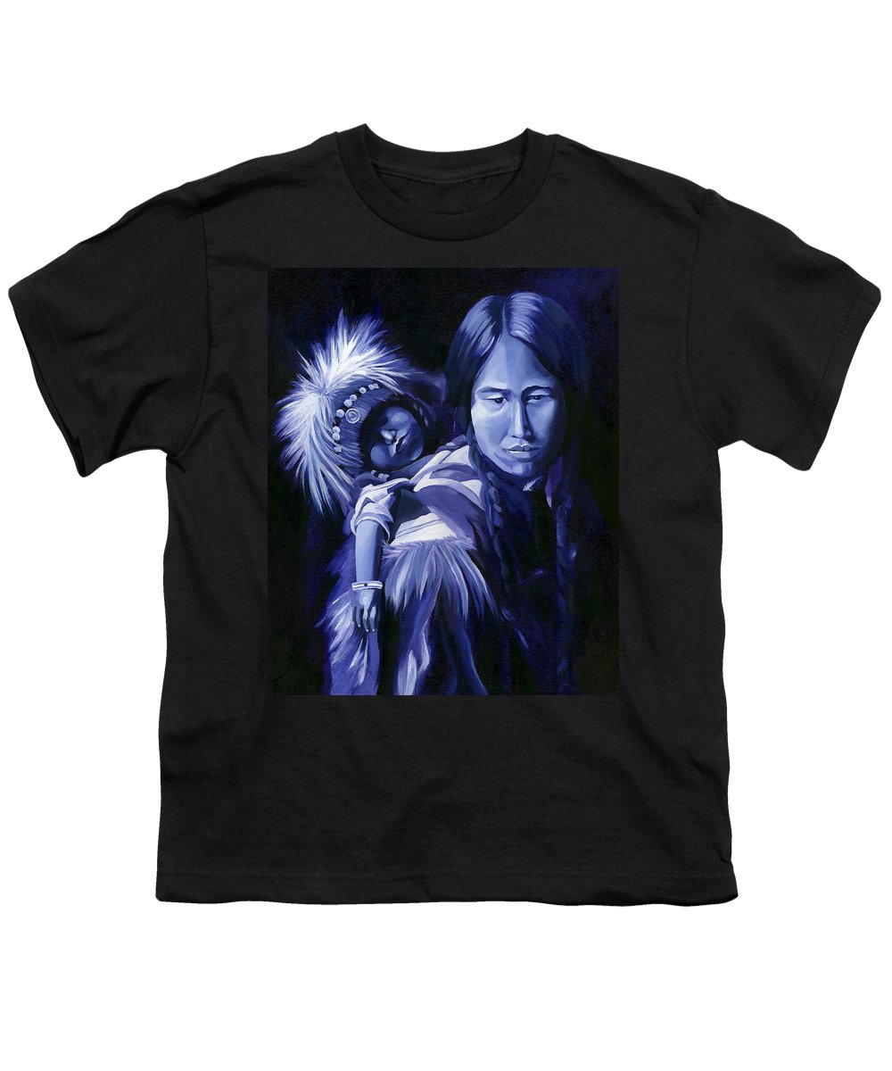 Native American Youth T-Shirt featuring the painting Inuit Mother And Child by Nancy Griswold