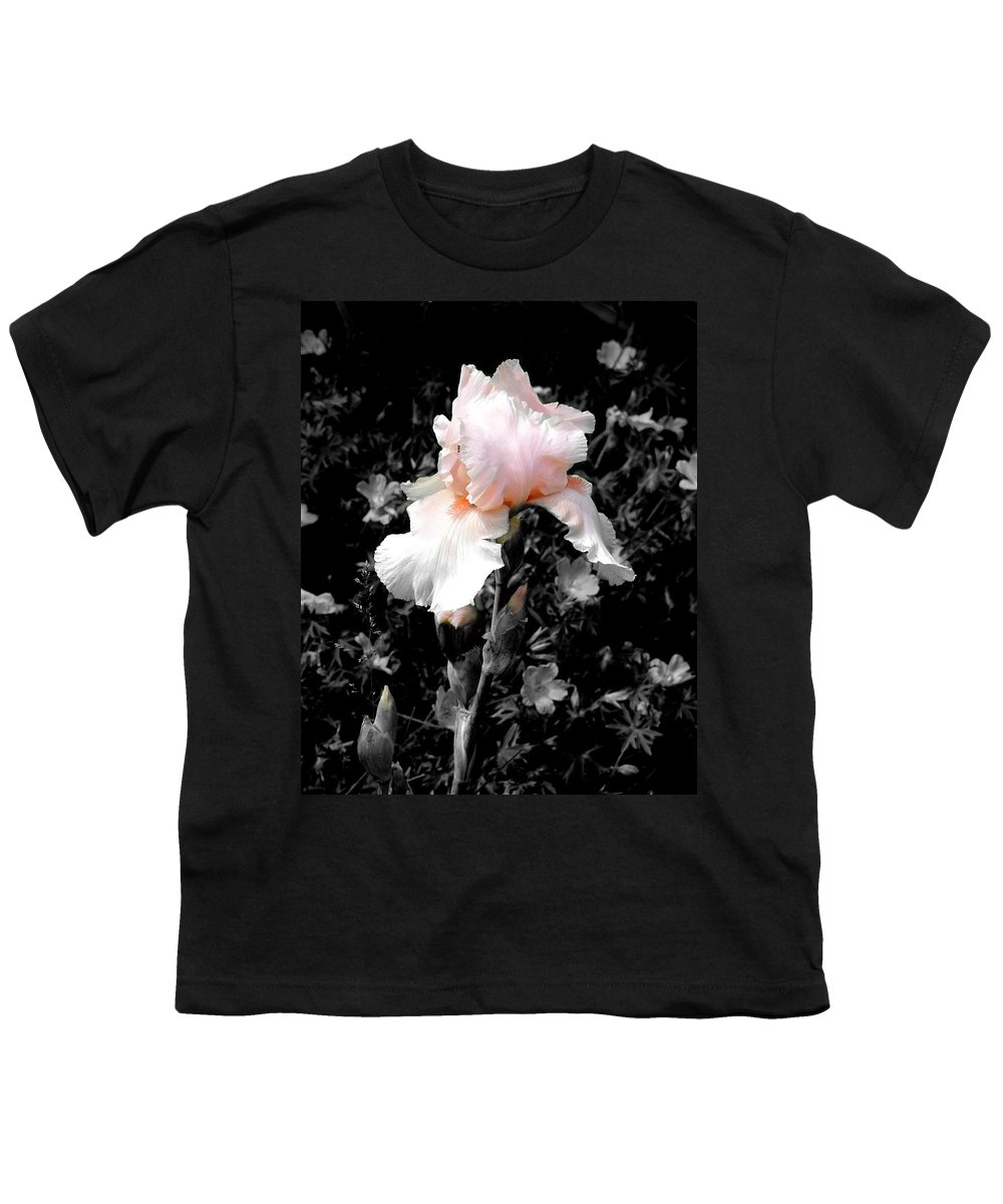 Flower Youth T-Shirt featuring the photograph Iris Emergance by Steve Karol