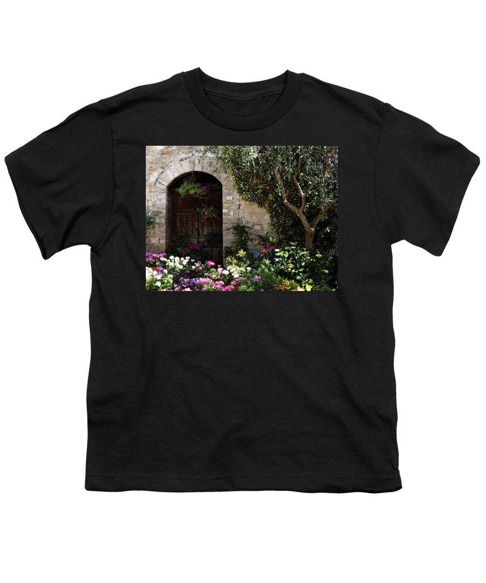 Flower Youth T-Shirt featuring the photograph Italian Front Door Adorned With Flowers by Marilyn Hunt