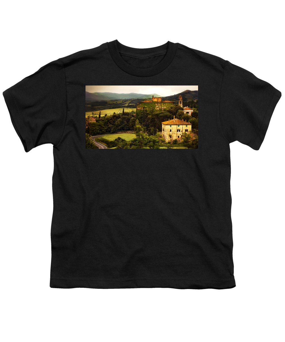 Italy Youth T-Shirt featuring the photograph Italian Castle And Landscape by Marilyn Hunt