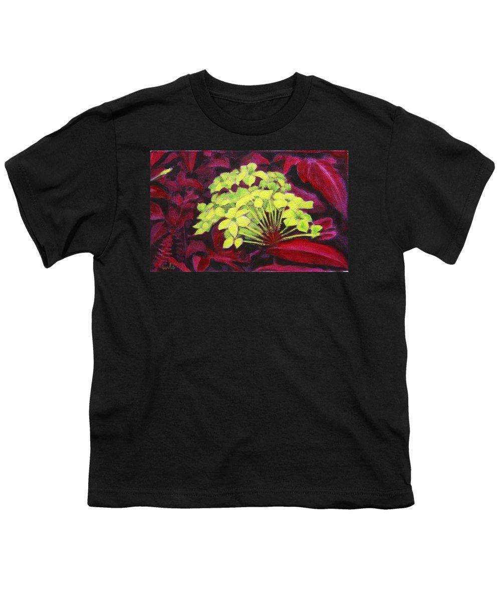 Foliage Youth T-Shirt featuring the painting Ixora - Jungle Flame by Usha Shantharam