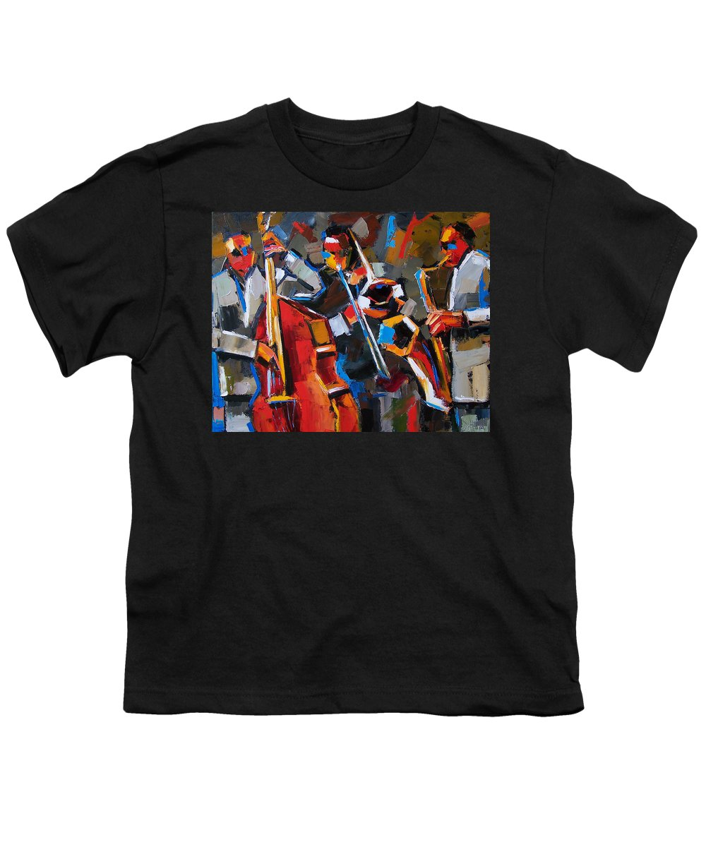 Jazz Youth T-Shirt featuring the painting Jazz Angles by Debra Hurd