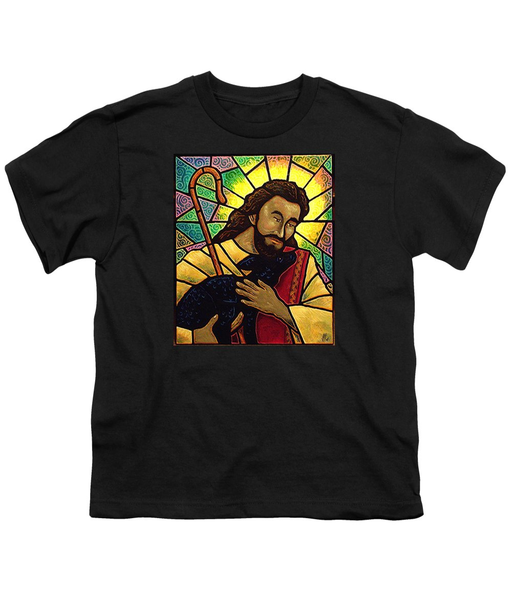 Jesus Youth T-Shirt featuring the painting Jesus The Good Shepherd by Jim Harris