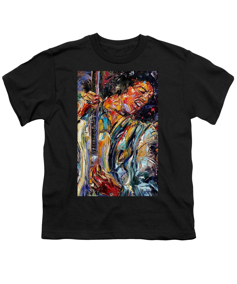 Jimi Hendrix Painting Youth T-Shirt featuring the painting Jimi Hendrix by Debra Hurd