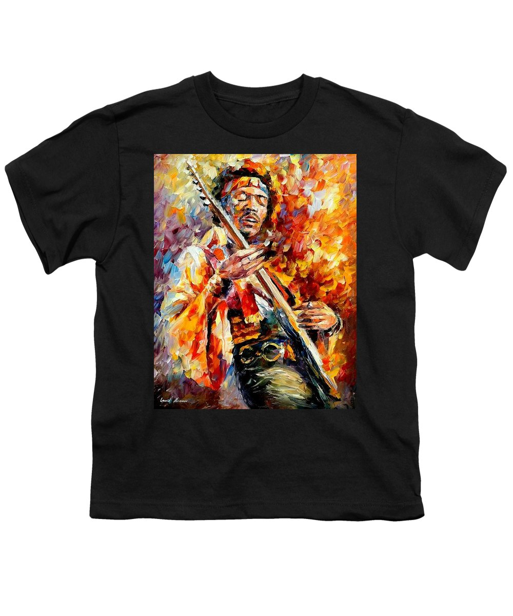 Music Youth T-Shirt featuring the painting Jimi Hendrix by Leonid Afremov