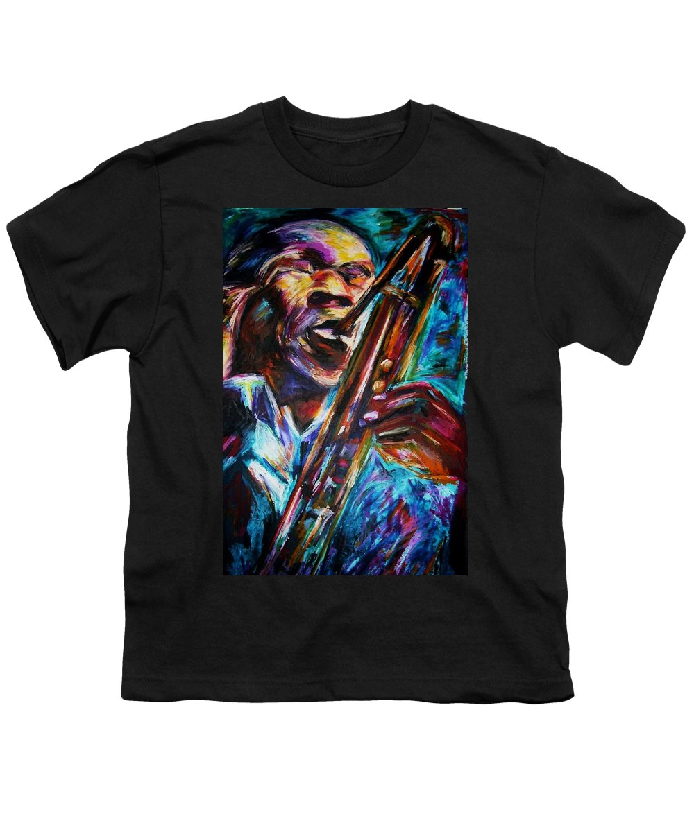 Jazz Youth T-Shirt featuring the painting John Coltrane by Frances Marino
