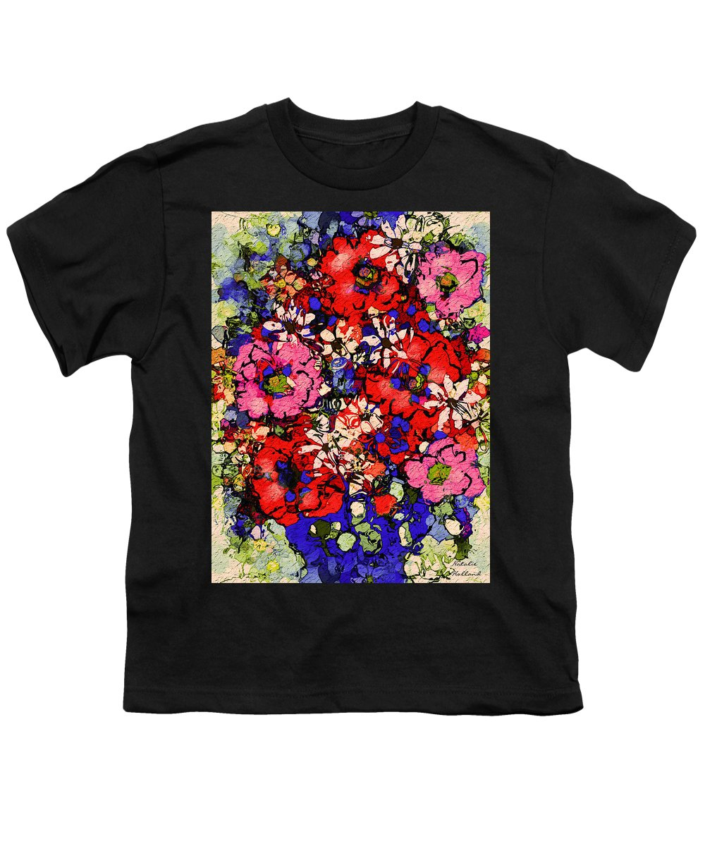 Floral Abstract Youth T-Shirt featuring the painting Joyful Flowers by Natalie Holland