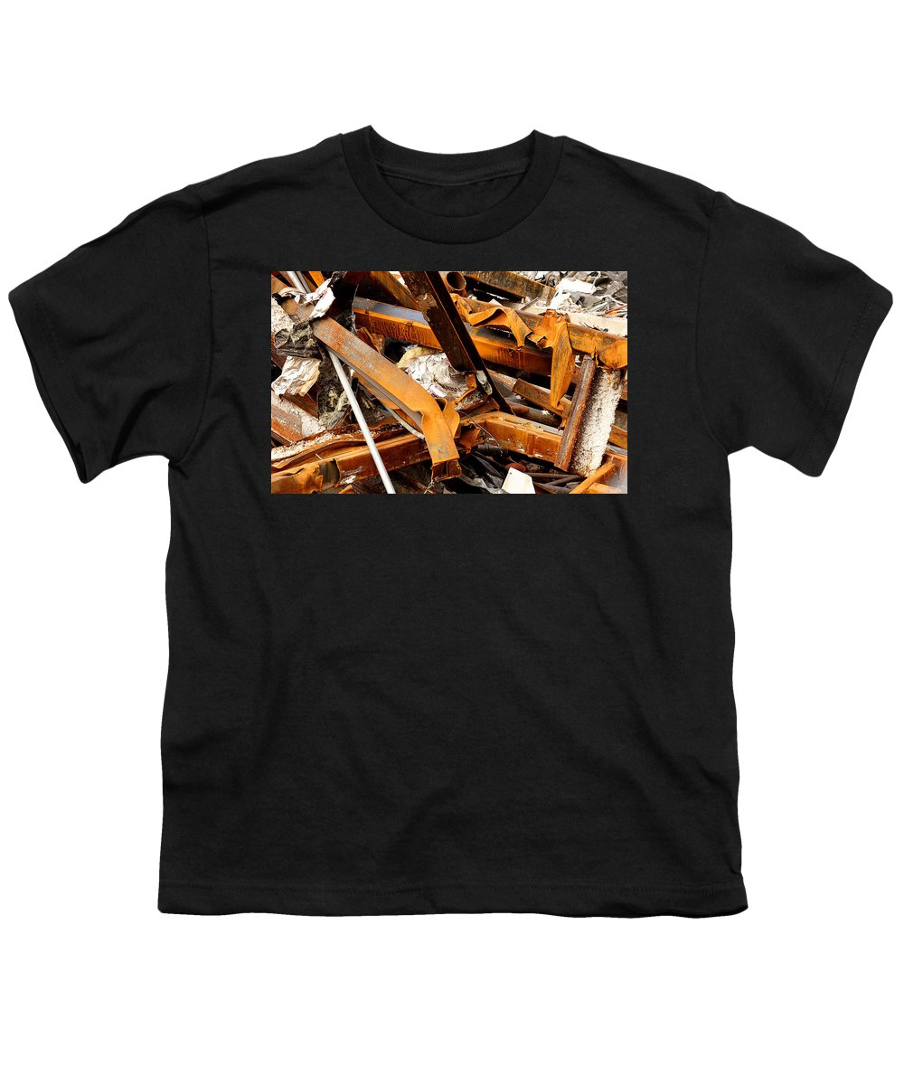 Steel Youth T-Shirt featuring the photograph Jumbled Steel by Jean Macaluso