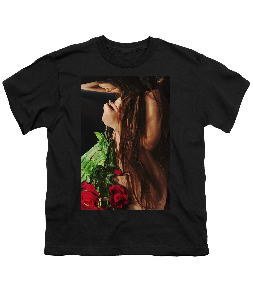 Female Nude Abstract Mirrors Flowers Youth T-Shirt featuring the photograph Kazi1179 by Henry Butz