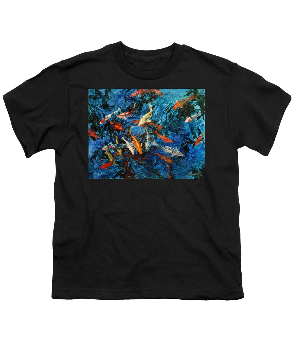 Koi Youth T-Shirt featuring the painting Koi IIi by Rick Nederlof