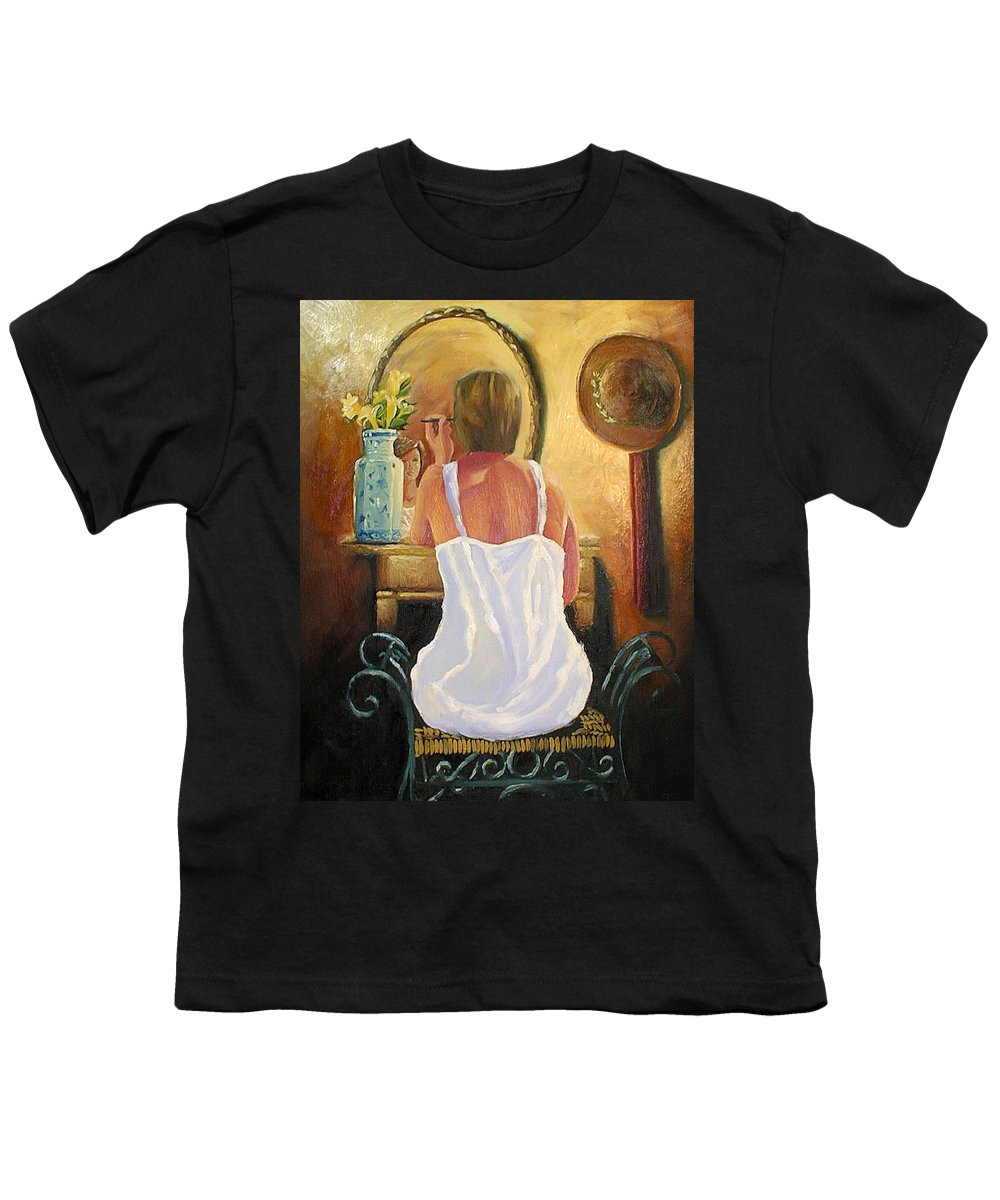 People Youth T-Shirt featuring the painting La Coqueta by Arturo Vilmenay
