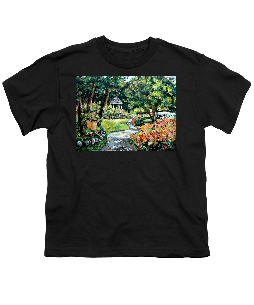 Landscape Youth T-Shirt featuring the painting La Paloma Gardens by Alexandra Maria Ethlyn Cheshire