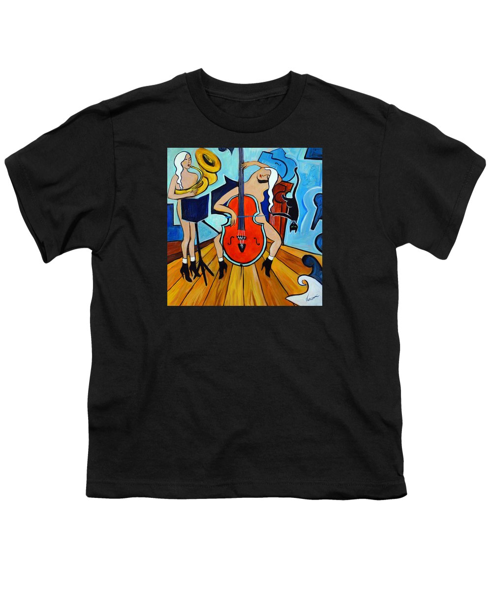 Musicians Youth T-Shirt featuring the painting Lady In Red by Valerie Vescovi