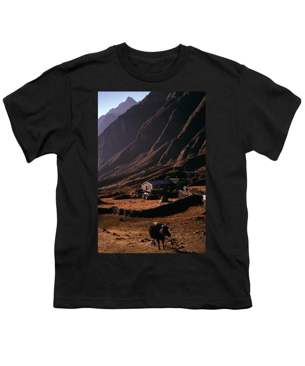 Langtang Youth T-Shirt featuring the photograph Langtang Village by Patrick Klauss