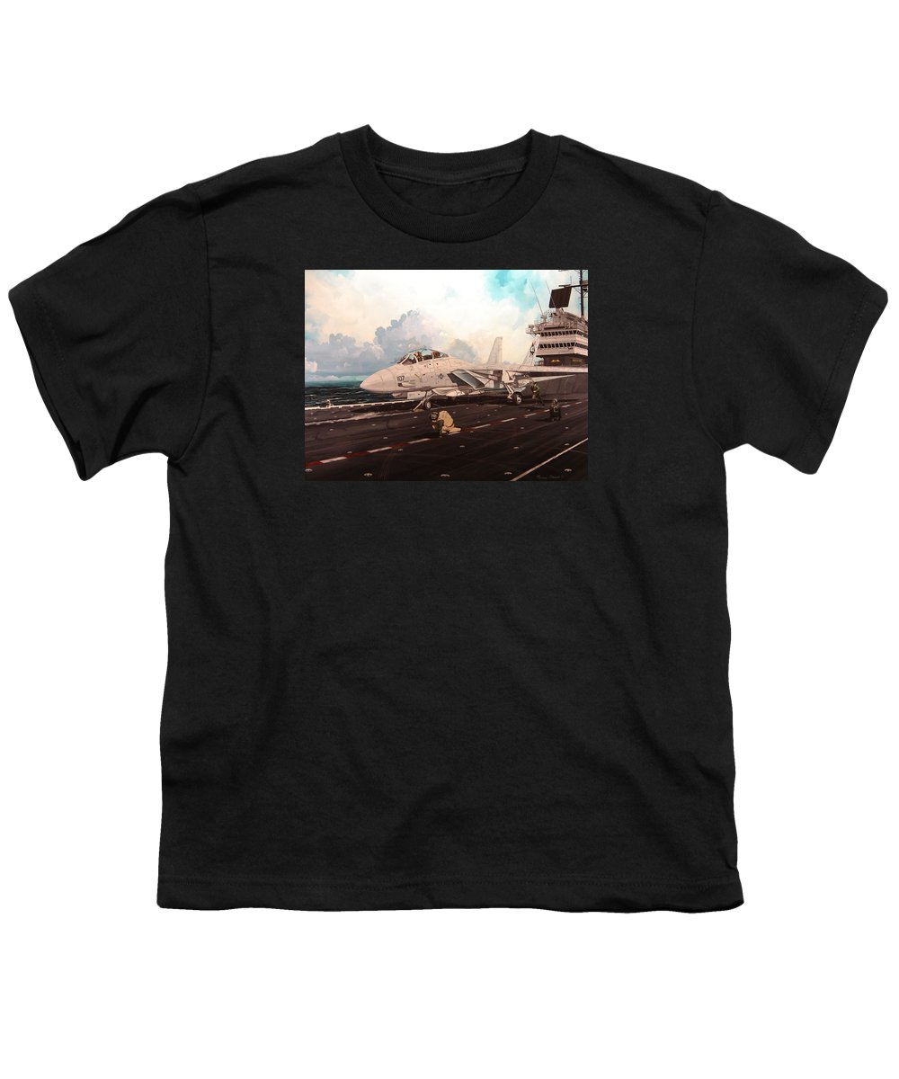 Military Youth T-Shirt featuring the painting Launch The Alert 5 by Marc Stewart