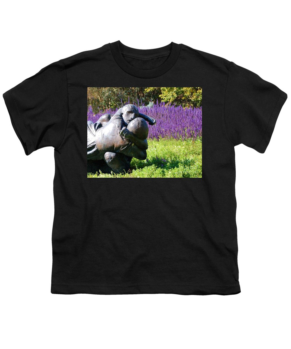 Statue Youth T-Shirt featuring the photograph Lavender Lovers by Debbi Granruth