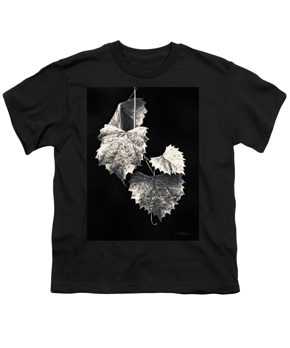 B&w Youth T-Shirt featuring the photograph Leaves by Christopher Holmes
